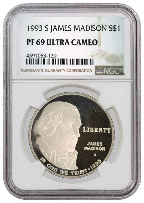 San Francisco Sales Tax 2017 >> 1993 S $1 James Madison Commemorative Silver Dollar NGC ...