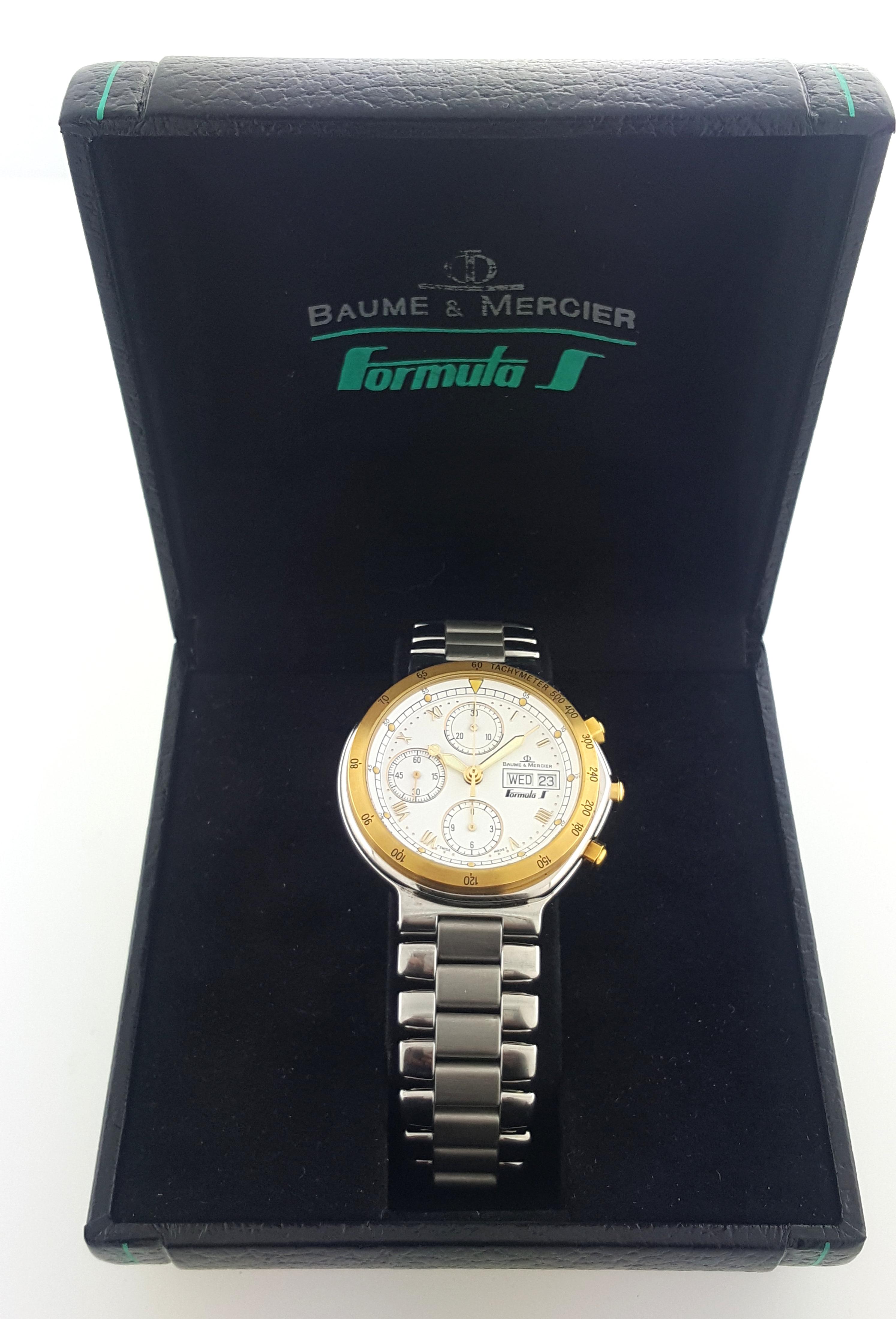 mint mens baume mercier formula s watch chronograph auto steel 18k gold orig bo ebay. Black Bedroom Furniture Sets. Home Design Ideas