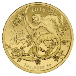 2016 1 oz Year of the Monkey Australia Lunar Coin .9999 Gold Fine BU (In Capsule)