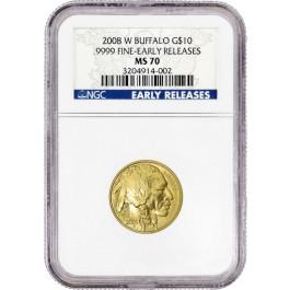 2008 W $10 1/4 oz .9999 Fine Burnished Gold American Buffalo NGC MS70 ER