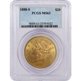 1888 S $20 Liberty Head Double Eagle Gold PCGS MS63