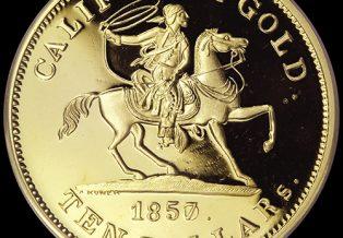1857 $10 49er Horseman .906 Fine Gold Coin