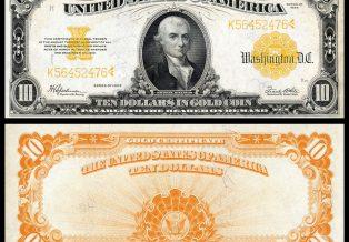1922 10 Gold Certificate