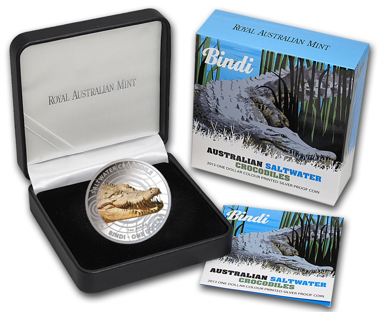 2013 Color Saltwater Crocodile Bindi Steve Irwin Australia 1 Dollar Silver Coin