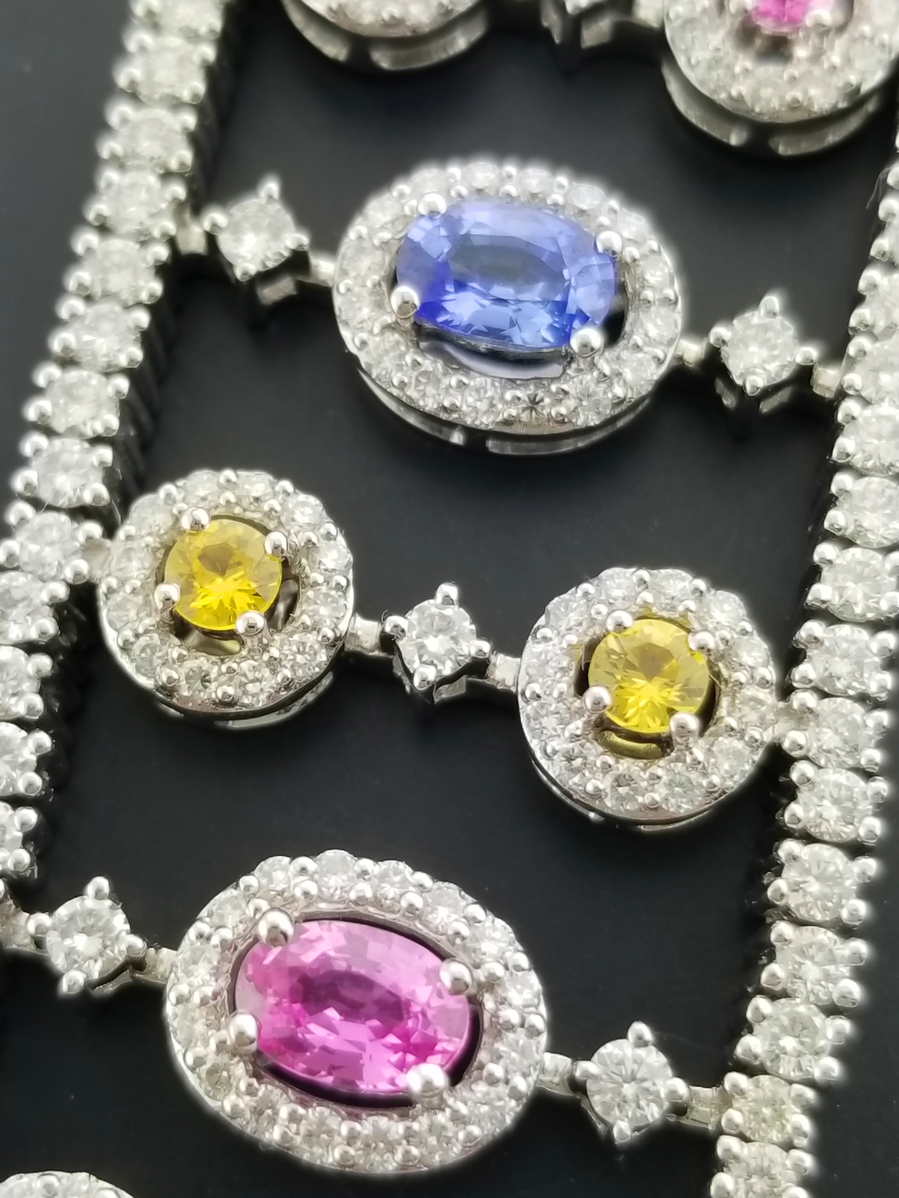 c172c5e95abe Details about Charles Krypell 18k Gold 15.26 tcw Diamond Blue Pink Yellow  Sapphire Bracelet