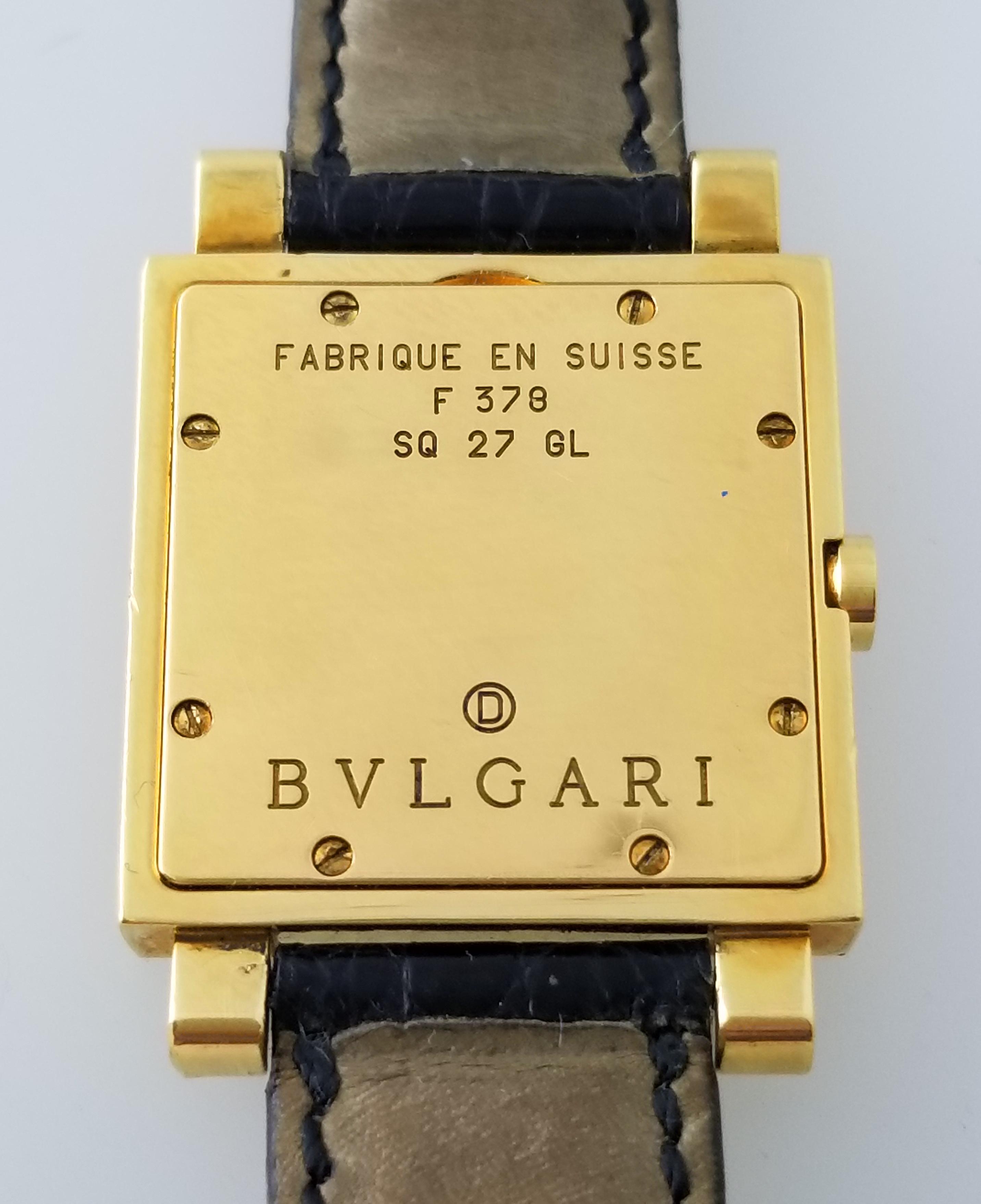 841ac1e97ca Bulgari Quadrato SQ27GL 27mm 18k Yellow Gold Black Dial Date Quartz Watch