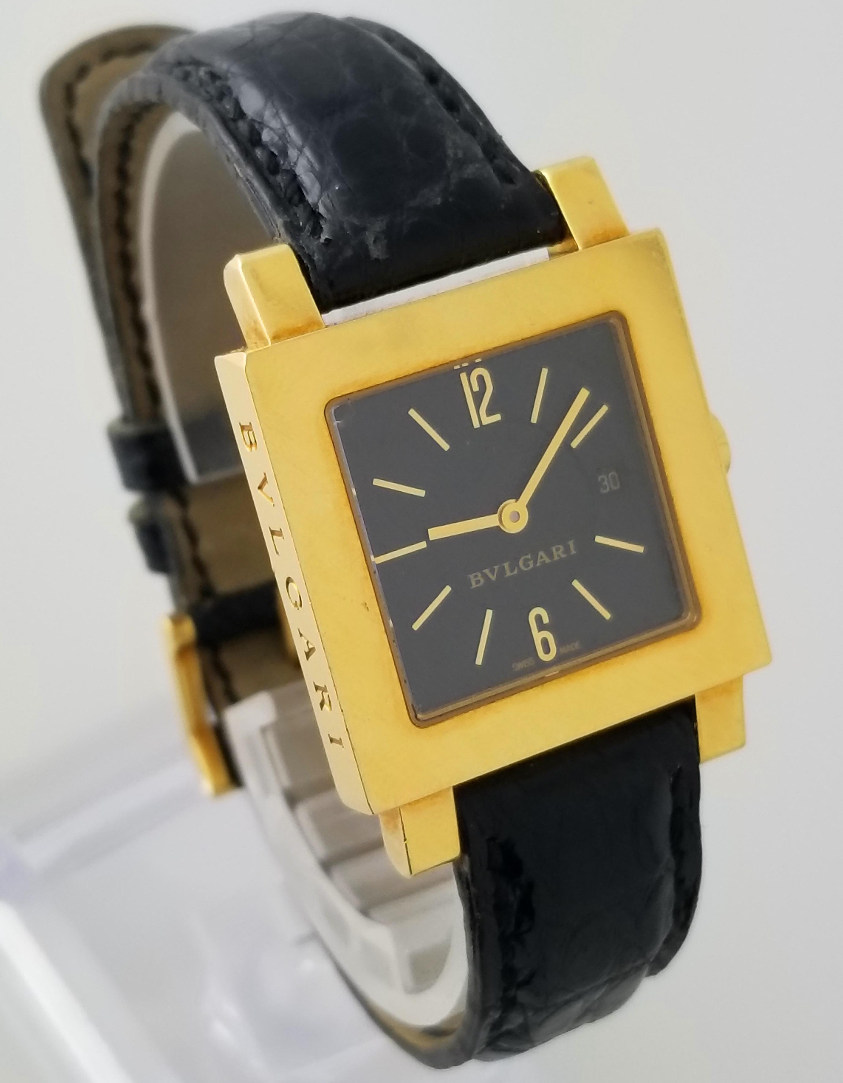 616e1dbf1d9 Details about Bulgari Quadrato SQ27GL 27mm 18k Yellow Gold Black Dial Date  Quartz Watch