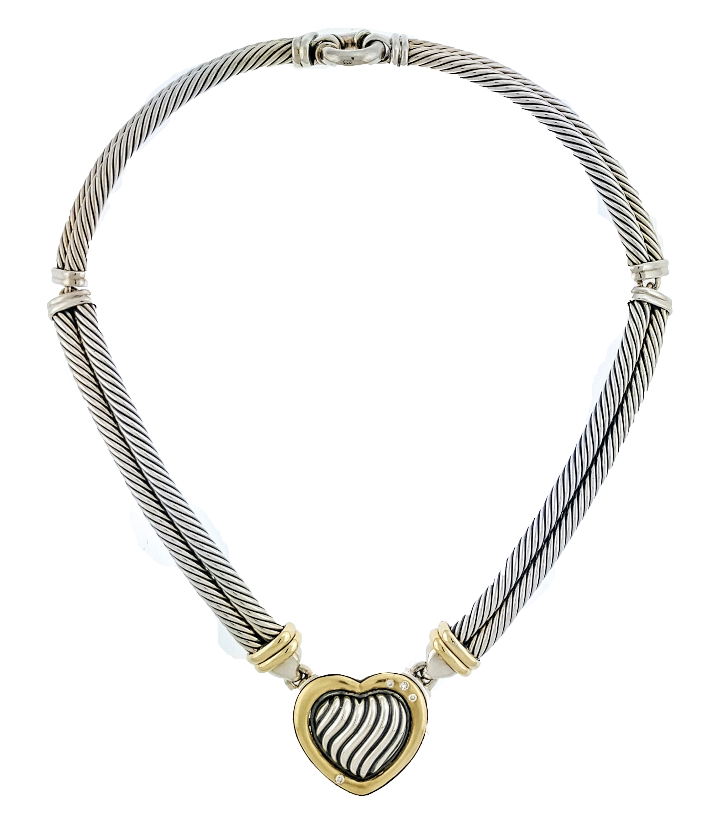 186df5d58c424 David Yurman 18k Gold Sterling Silver Diamond Double Cable Hinged Heart  Necklace