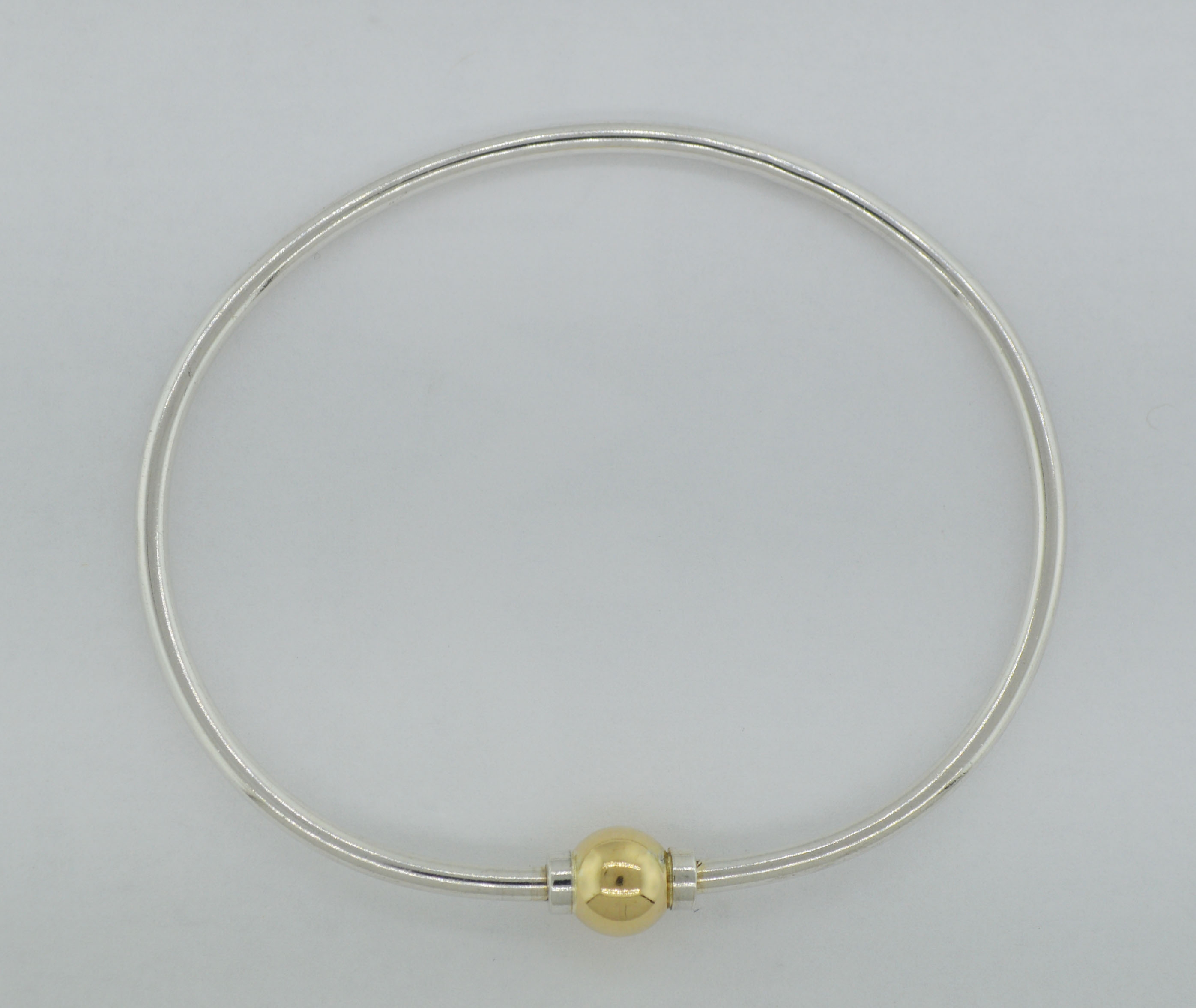 Cape Cod Sterling Silver 14k Gold Bead Ball Cuff Bangle Bracelet Size 7