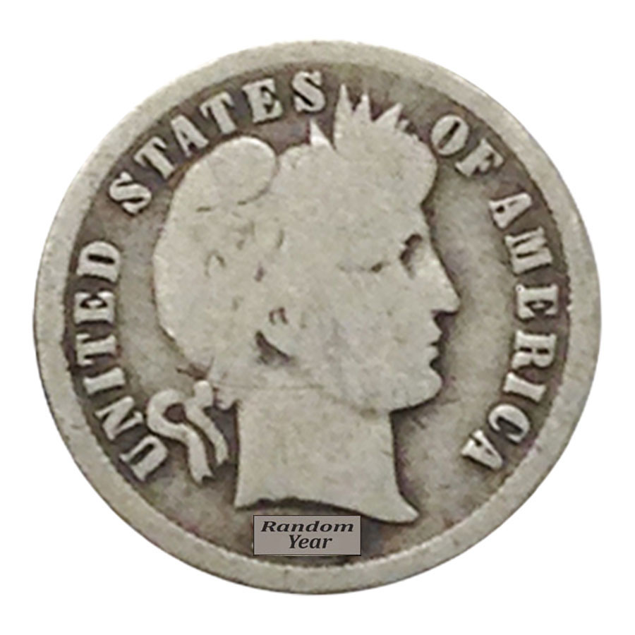 $5 Face Value Barber Dimes 90/% Silver 50-Coin Roll Circulated