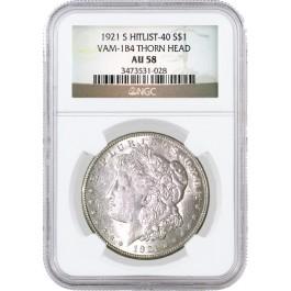 1921 S $1 Morgan Silver Dollar NGC AU58 VAM 1B4 Thorn Head   Coin