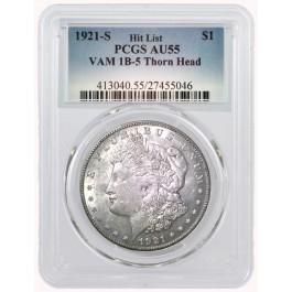 1921 S $1 Morgan Silver Dollar PCGS AU55 VAM 1B-5 Thorn Head | Coin