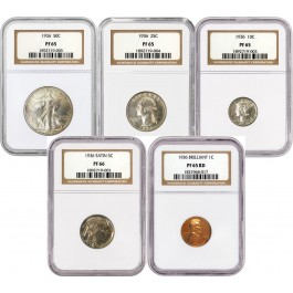1936 50C 25C 10C 5C 1C United States 5 Coin Slabbed Proof Set NGC PF65 PF66