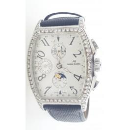7.95 cts DIamond Alfred Hammel Tonneau triple calendar moon chronograph watch