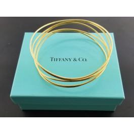 "Tiffany & Co Elsa Peretti 18k Yellow Gold Wave 5 Row Bangle Bracelet Box 7.75"""