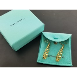 Tiffany & Co Paloma Picasso Italy 18k Gold Luce Venezia Twist Dangle Earrings