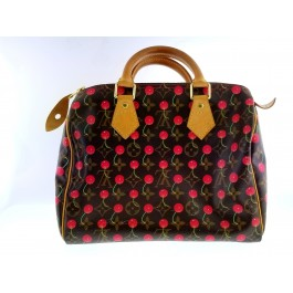 c86d11bdde76 Authentic Louis Vuitton Cherry Cerise Speedy 25 By Takashi Murakami Handbag