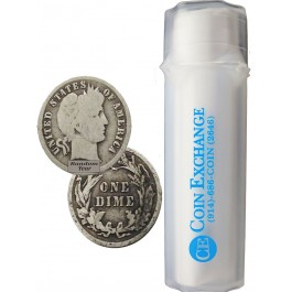 Roll Of 50 $5 Face Value 90% Silver Barber Dimes Circulated Coins Full Dates
