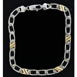 Vintage Tiffany Co Italy 18k Gold Sterling Silver Curb Link Chain Bracelet 8 5 Coin Exchange Ny
