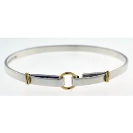 Vintage Tiffany Co 18k Gold Sterling Silver Circle Hook Bangle Bracelet 7 5 Coin Exchange Ny