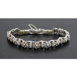 Jabel 18k White Gold 1.65 tcw Single Cut Diamond Add A Link Flower Bracelet 6.25