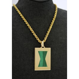 Vintage Cartier 18k Yellow Gold Malachite Amulet Pendant Rope Chain Necklace 30""
