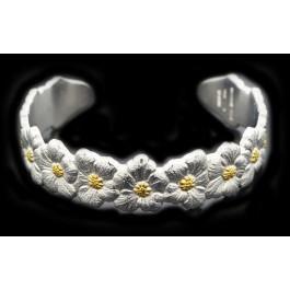 """Buccellati Gardenia 925 Sterling Silver Gold Vermeil Floral Cuff Bracelet 6.75"""""""