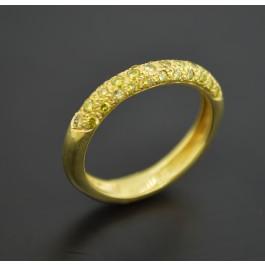 Signed Carol Silvera 18k Gold .60 tcw Green Yellow Pave Diamond Ring Size 8.25