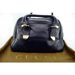 GUCCI Guccissima Signoria Large Dome Satchel Black Leather Hobo Bag 181507