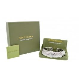 "Judith Ripka 925 Sterling Silver Diamonique Textured Hinged Cuff Bracelet 6.5"""