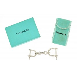 Tiffany & Co 925 Sterling Silver Large Double Shackle Valet Keychain Box & Pouch
