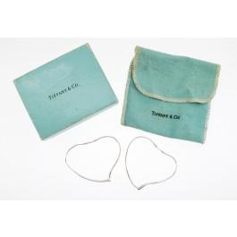 Vintage Tiffany & Co Elsa Peretti Sterling Silver Large Open Heart Hoop Earrings
