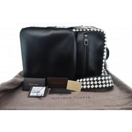 Bottega Veneta Nero/Mist Black Calf Lambskin Leather Intrecciato Checker Backpack