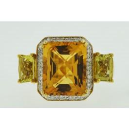 LEVIAN 14k Yellow Gold Citrine Lemon Quartz Diamond Filigree Ring Size 7