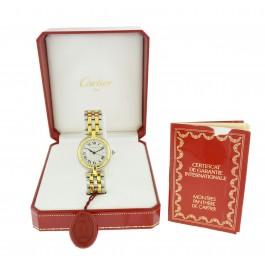 Cartier Panthere Vendome 30mm 18k Gold Steel 2 Row Date Quartz Watch 183964C