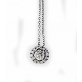 "Forevermark De Beers 18k White Gold .80 tcw Halo Diamond Pendant Necklace 16.5"""