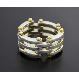 Vintage Tiffany & Co 18k Yellow Gold 925 Sterling Silver Gate Link Ring Size 7.5