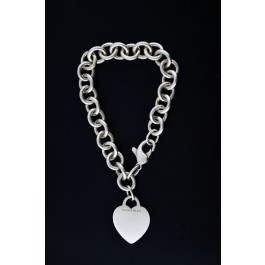 """Tiffany & Co 925 Sterling Silver Heart Tag Charm Chain Link Bracelet 7.75"""" #3"""