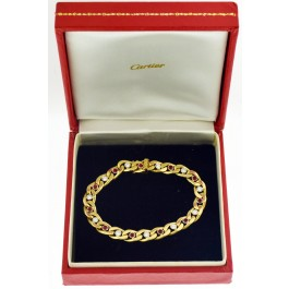 Vintage Cartier 18k Gold Diamond Pigeon Blood Ruby Cuban Link Chain Bracelet 7""