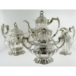 1903 Gorham Chantilly Grand Sterling Silver Vermeil 4 Piece Coffee Tea Set