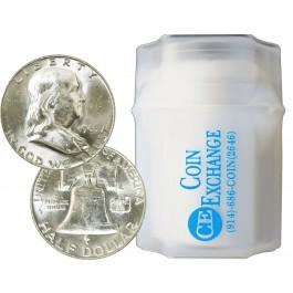 1963 D Roll Of 20 $10 Face Value 90% Silver Franklin Half Dollars BU