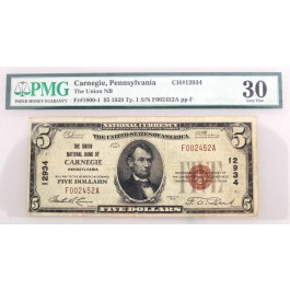 1929 $5 Union National Bank Carnegie PA CH#12934 Fr#1800-1 Type 1 PMG VF30