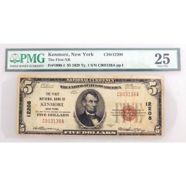 1929 $5 First National Bank Kenmore New York CH#12208 Fr#1800-1 Type 1 PMG VF25