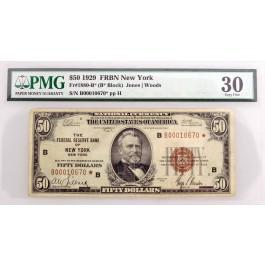 Series Of 1929 $50 FRBN New York Star Note Fr#1880-B* *B Block PMG VF30