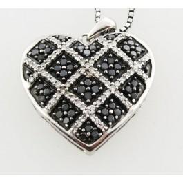 1471ed688 JWBR Kay Jewelers Silver .50ct Black White Diamond Heart Necklace 18
