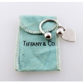Tiffany & Co 925 Sterling Silver Horse Shoe Heart Tag Key Ring With Pouch
