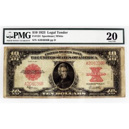 123 Fr series of 1923 $10 large size legal tender poker chip fr#123 pmg