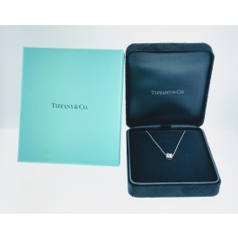 "Tiffany & Co 950 Platinum .24 tcw Diamond Flower Pendant Necklace 16"" With Box"