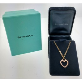 Tiffany & Co 18k Yellow Gold Open Heart Pendant Chain Link Necklace 16""