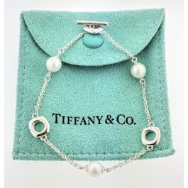 Vintage Tiffany & Co Sterling Silver Cultured Pearl Cushion Toggle Bracelet 7""